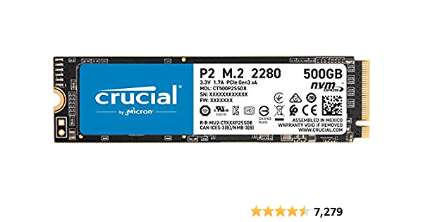 Crucial P2 500 GB 3D NAND NVMe PCIe M.2 SSD hasta 2400 MB/s - CT500P2SSD8